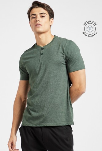 Textured Henley T-shirt with Short Sleeves