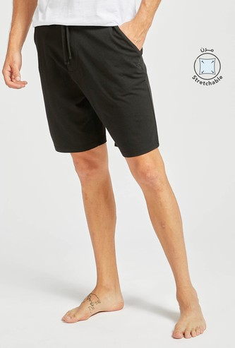 Solid Knit Shorts with Pocket Detail and Drawstring Closure