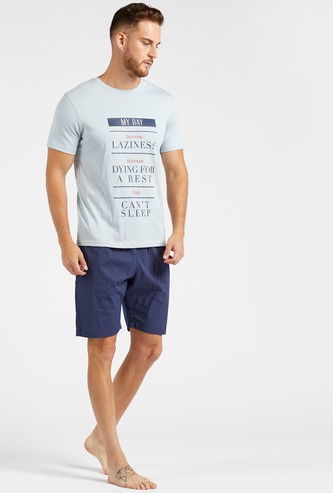 Text Print Round Neck T-shirt with Striped Shorts Set