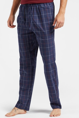 Full Length Checked Pyjamas with Pocket Detail and Drawstring Closure