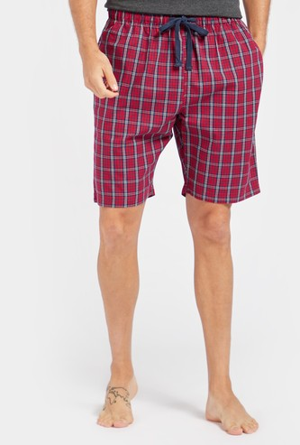 Checked Cotton Shorts with Drawstring Closure