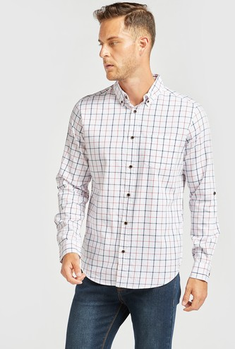 Chequered Collared Shirt with Long Sleeves