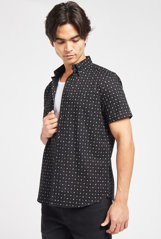 All-Over Print Shirt with Short Sleeves and Button Closure