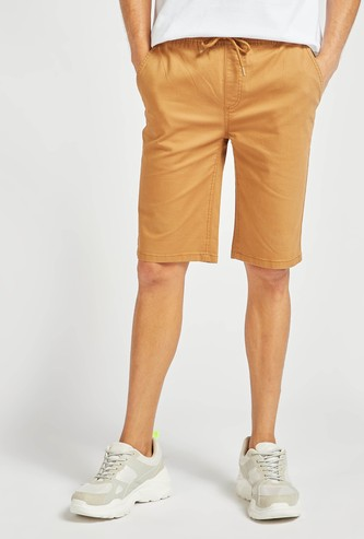 Solid Mid-Rise Pull-On Shorts with Drawstring Closure