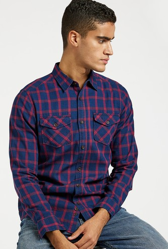 Checked Shirt with Long Sleeves and Chest Pockets