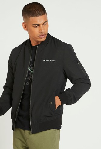Solid Long Sleeves Bomber Jacket with Mandarin Collar