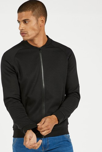 Solid Knit Bomber Jacket with Long Sleeves and Pocket Detail