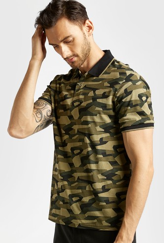 All-Over Print Slim-Fit Polo T-shirt with Short Sleeves