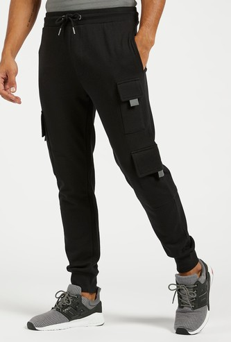 Slim Fit Solid Jog Pants with Multiple Pockets and Drawstring