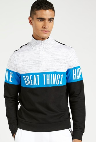 Slogan Print Sweatshirt with High Neck and Long Sleeves
