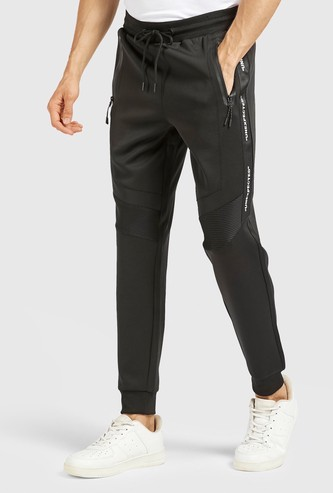 Panelled Full Length Mid Rise Joggers with Drawstring Closure