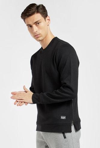 Slim Fit Jacquard Sweatshirt with Long Sleeves and Side Zip Detail