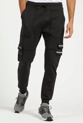 Slim Fit Solid Mid-Rise Cargo Jog Pants with Drawstring Closure