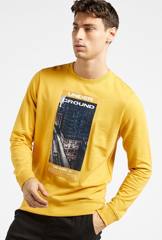 Slim Fit Printed Sweatshirt with Round Neck and Long Sleeves