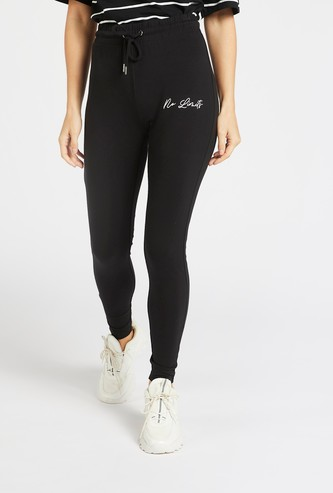 Embroidered Jog Pants with Elasticised Waistband and Drawstring