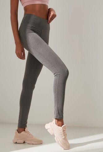 Solid Quick Dry Leggings in Slim Fit with Elasticised Waistband
