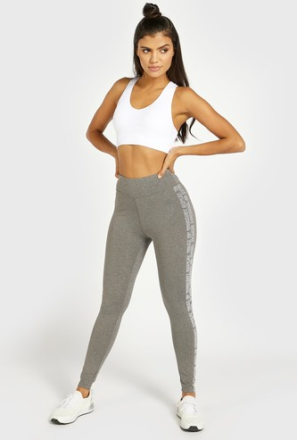 Side Text Print Leggings with Elasticated Waistband