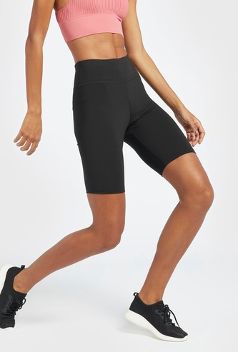 Solid Slim Fit Cycling Shorts with Elasticised Waistband