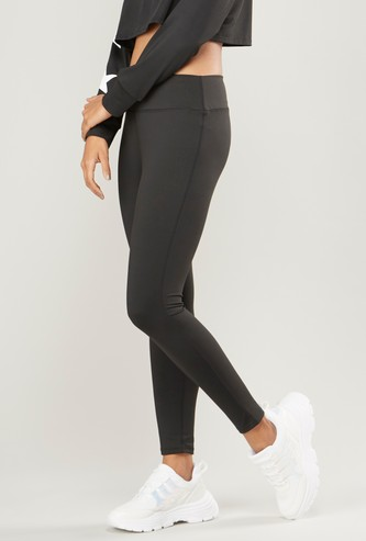 Slim Fit Solid Leggings with Elasticized Waistband