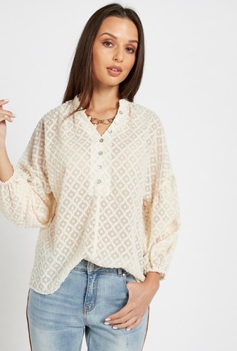 Textured Top with V-Neck and Long Volume Sleeves