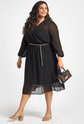 Textured A-line Midi Dress with Chain Belt Detail