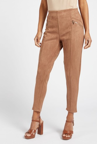 Solid Suede Mid-Rise Jeggings with Elasticised Waistband