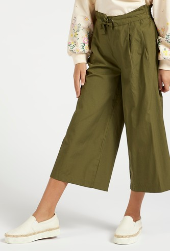 Solid Culottes with Drawstring Closure