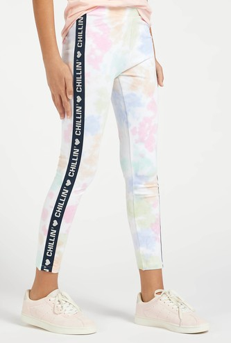Printed Ankle Length Leggings with Tape Detail and Elasticated Waist