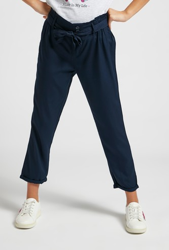 Solid Ankle Length Pants with Paper Bag Waist and Tie-Ups