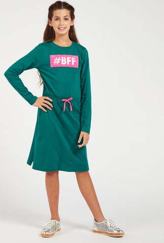 Printed Knee Length Dress with Long Sleeves and Round Neck