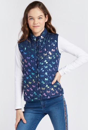 Printed High Neck Sleeveless Jacket with Zip Closure