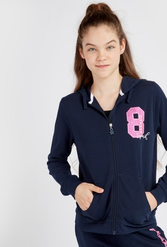 Numeric Print Anti-Pilling Hoodie with Long Sleeves and Pockets