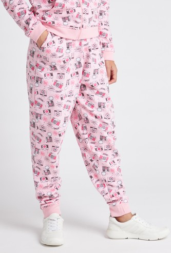 Printed Full Length Jogger with Drawstring Tie-Up and Pocket Detail
