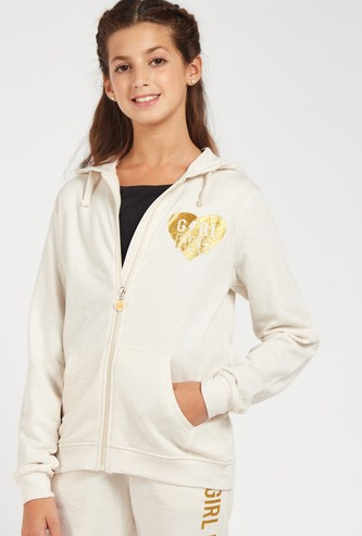 Embellished Hooded Jacket with Long Sleeves and Zip Closure