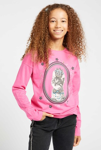 Embellished Detail T-shirt with Round Neck and Long Sleeves