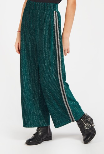 Textured Ankle Length Culottes with Elasticated Waistband