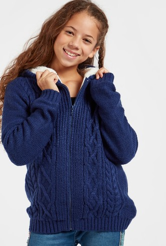 Cable Knit Zip Through Sweater with Hood and Long Sleeves