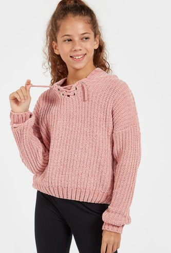 Textured Sweater with Long Sleeves and Criss Cross Detail
