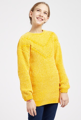 Knit Sweater with Round Neck and Long Sleeves