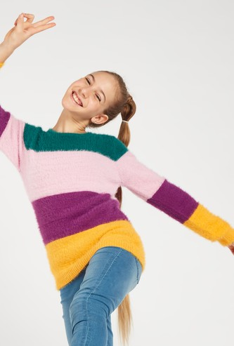 Textured Rainbow Striped Sweater with Round Neck and Long Sleeves