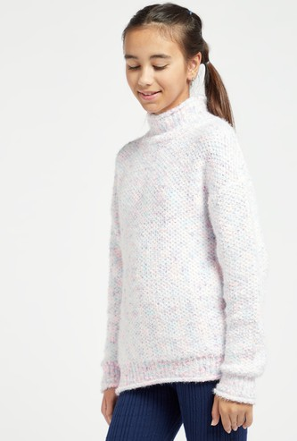 Textured Sweater with High Neck and Long Sleeves