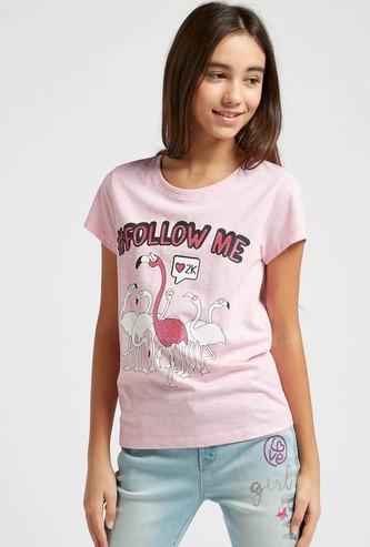 Flamingo Graphic Print T-shirt with Round Neck and Cap Sleeves