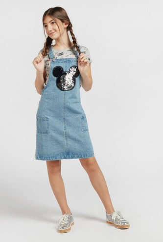 فستان دنغري بتزيينات ميكي ماوس