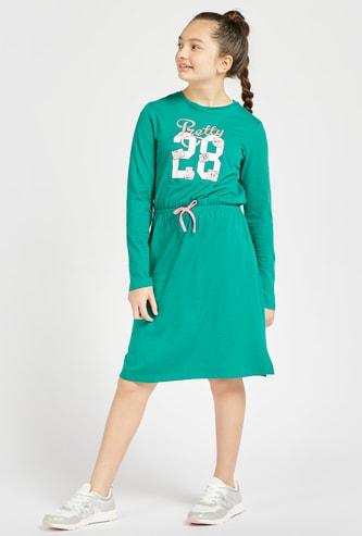 Printed Knee-Length Dress with Long Sleeves