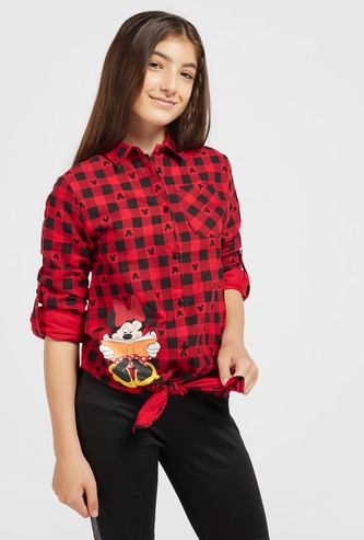 Minnie Mouse Print Chequered Shirt with Tie-Ups and Long Sleeves