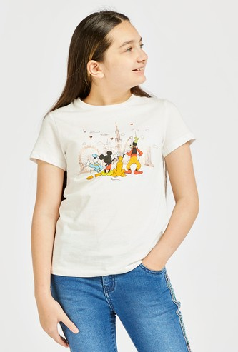 Mickey & Friends Graphic Print T-shirt with Round Neck and Cap Sleeves