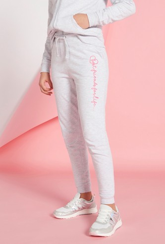 Typographic Print Full Length Jog Pants with Drawstring Closure and Pockets