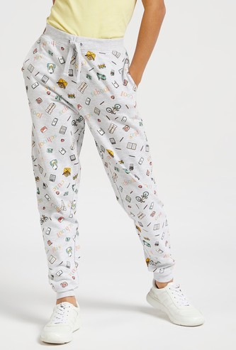 All-Over Printed Jog Pants with Drawstring Closure and Pockets
