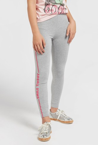 Typographic Print Ankle Length Leggings with Elasticated Waistband