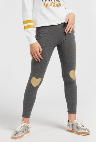 Heart Placement Print Leggings with Elasticised Waistband